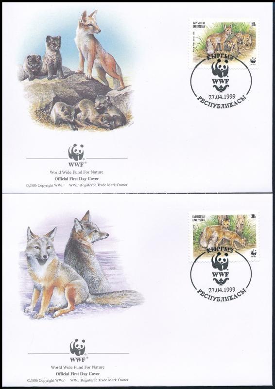 WWF: Sand Fox set in block of 4 on 4 FDC, WWF: Homoki róka sor négyestömbben 4 db FDC-n