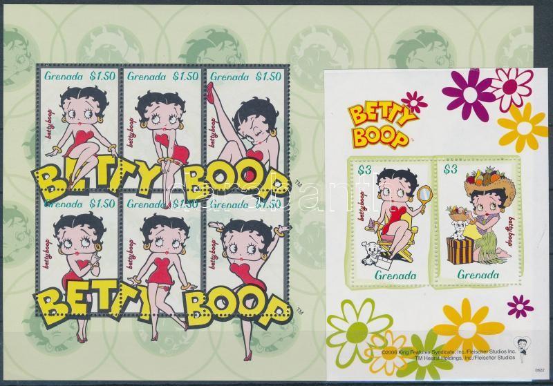 Betty Boop cartoon minisheet + block, Betty Boop rajzfilmfigura kisív + blokk
