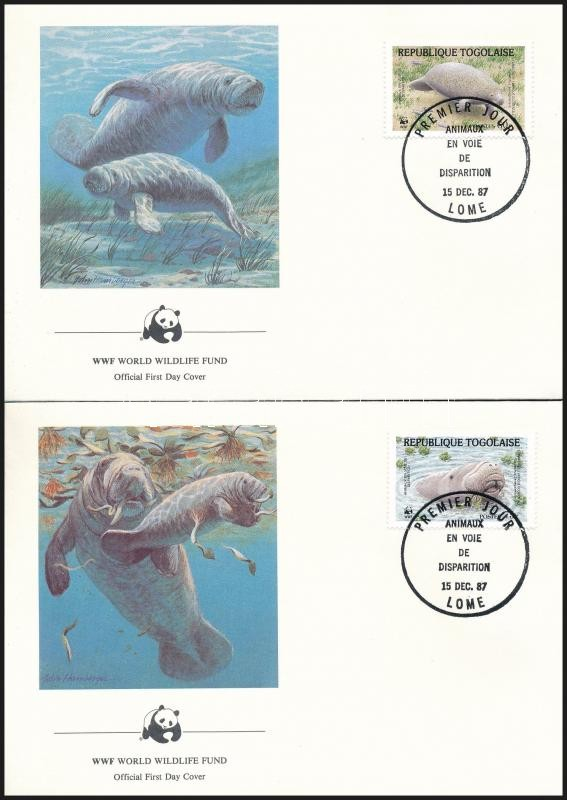 WWF Sea cow set 4 FDC, WWF: Tengeri tehén sor 4 db FDC-n
