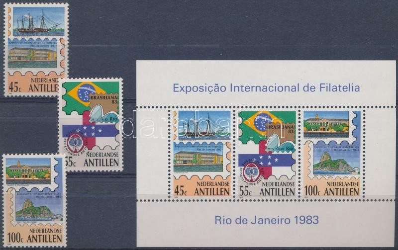 International Stamp Exhibition set + block, Nemzetközi bélyegkiállítás BRASILIANA, Rio de Janeiro sor  + blokk
