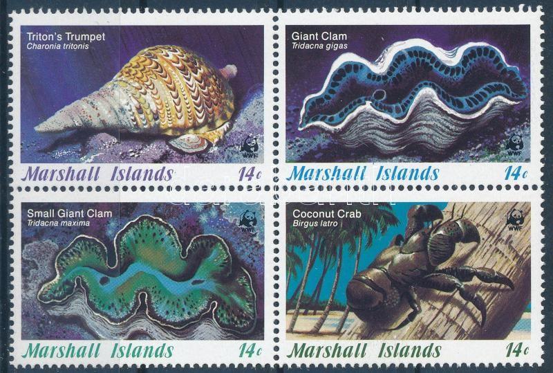 WWF: Sea clam set + 4 FDC, WWF: Tengeri kagylók sor + 4 db FDC