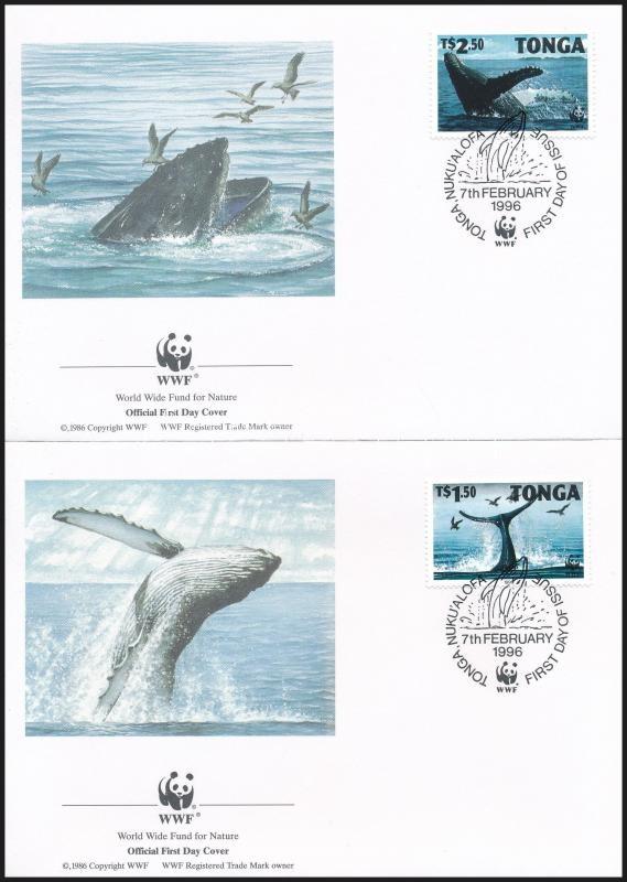 WWF Long-wing whale set 4 FDC, WWF: Hosszúszárnyú bálna sor 4 db FDC-n