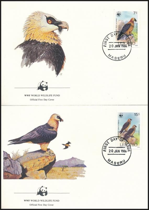 WWF Bearded vulture set 4 FDC, WWF Szakállas saskeselyű sor 4 db FDC-n