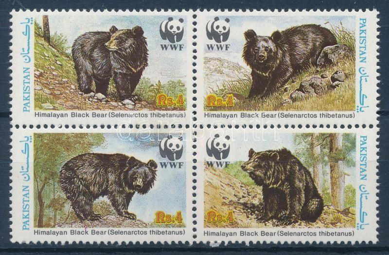 WWF Bear block of 4 + 4 FDC (gum disturbance), WWF: Medve négyestömb + 4 db FDC (gumihiba)