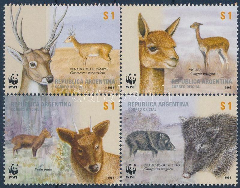 WWF: Indigenous mammals block of 4, WWF: Őshonos emlősök négyestömb