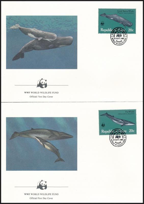 WWF: Whales set on 4 FDC, WWF: Bálnák sor 4 db FDC-n