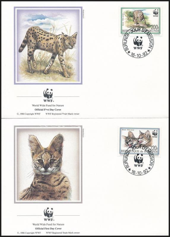 WWF Serval set on 4 FDC, WWF: Szervál sor 4 db FDC-n