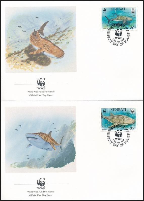 WWF Sea animals set 4 FDC, WWF: Tengeri állatok sor 4 db FDC-n