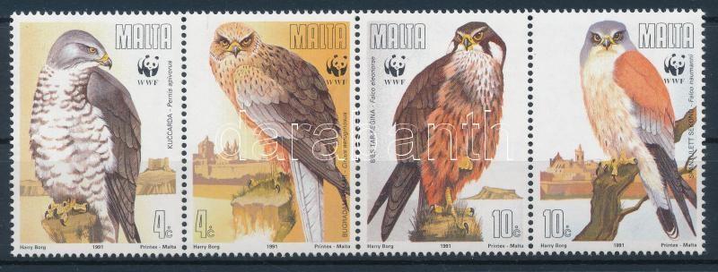WWF Birds of prey set stripe of 4 + 4 FDC, WWF: Ragadozó madarak sor négyescsíkban + 4 db FDC