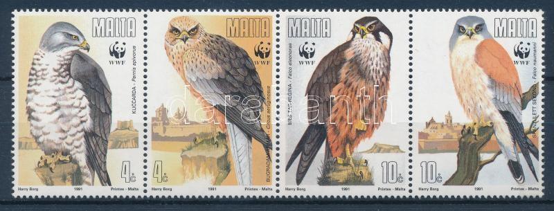 WWF: Ragadozó madarak sor négyescsíkban + 4 db FDC, WWF: Birds of prey set in lines of four + 4 FDCs