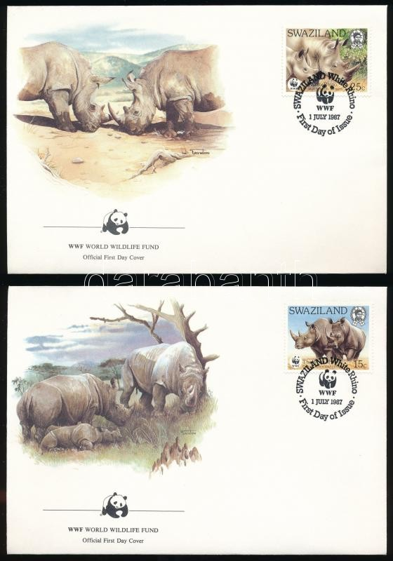 WWF Rhinos set 4 FDC, WWF: Orrszarvú sor 4 db FDC-n
