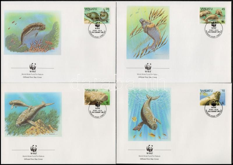WWF: Dugong sor 4 db FDC-n, WWF: Dugong set on 4 FDCs