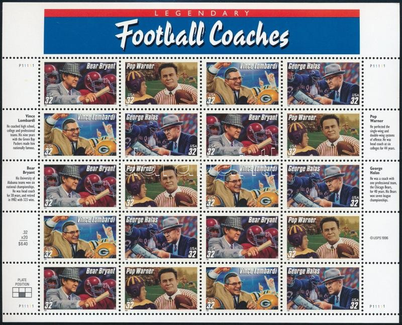 Football coaches mini sheet, Amerikai futball edzők kisív