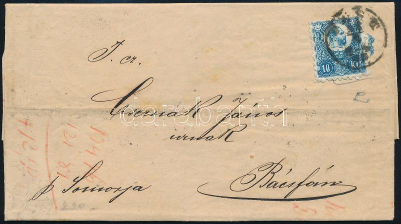 Mi 11 single franking on domestic cover 2nd wight class, 2. súlyfokozatú távolsági levél Réznyomat 10 kr egyes bérmentesítéssel