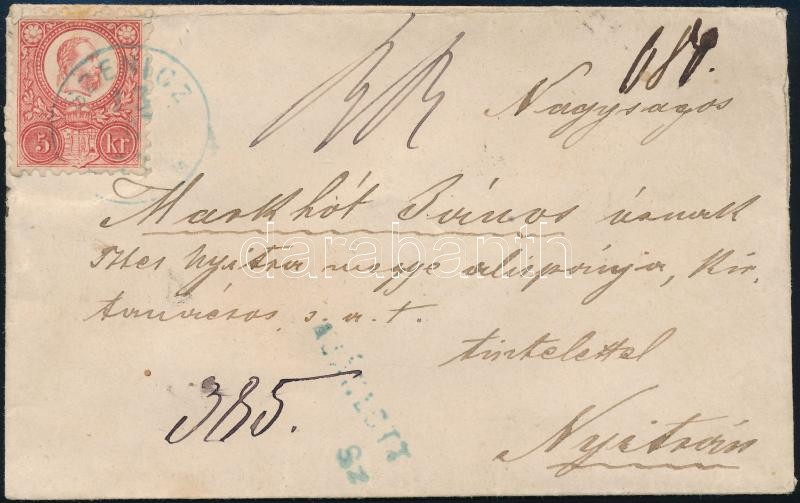 Registered cover with recorded delivery franked with 5 x Mi 10 (4 stamps teared off with the return recepisse) blue ,,SZENICZ