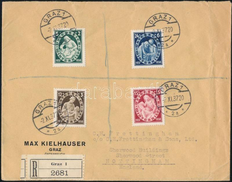 Registered cover to England, Ajánlott levél Angliába feláras segélybélyegekkel
