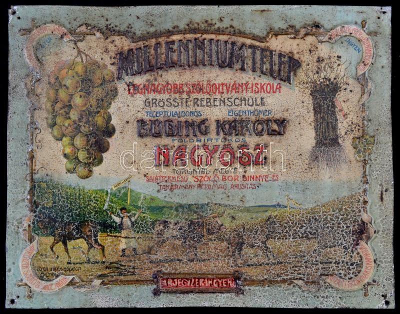 56e976c202 1910 Nagyősz (Bánság) Millennium Telep szőlőoltvány iskola fém reklám.