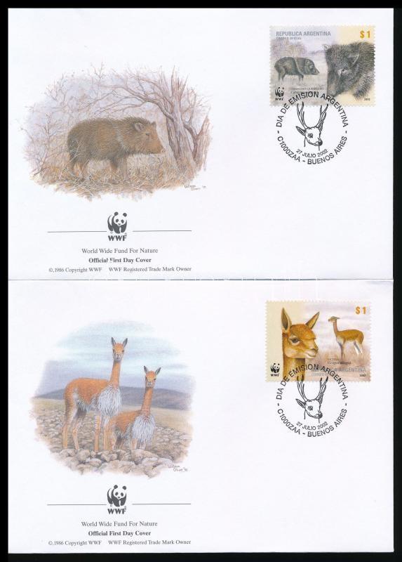 WWF Mammals set block of 4 + 4 FDC, WWF: Emlősök sor négyestömbben + 4 db FDC