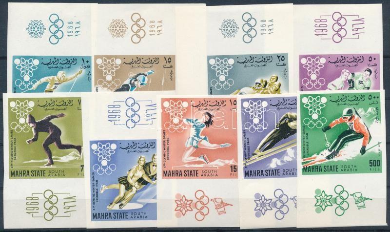 Winter Olympic Games imperforated set with margin and corner values, margin 5-circle overprint, Téli olimpiai játékok vágott sor ívszéli és ívsarki értékekkel, ívszéli ötkarikás nyomat