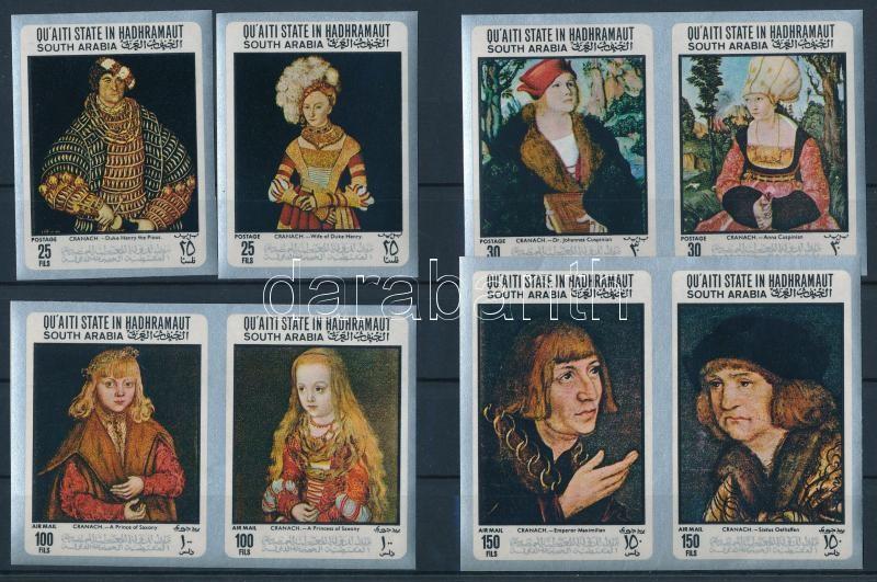 Lucas Cranach paintings imperforated set, Lucas Cranach festményei vágott sor