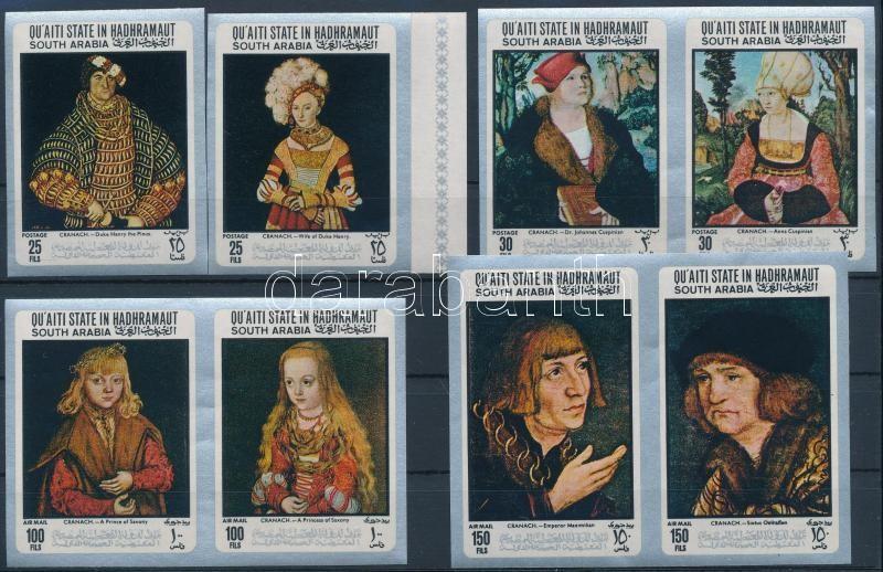 Paintings by Lucas Cranach imperforated set, Lucas Cranach festményei vágott sor