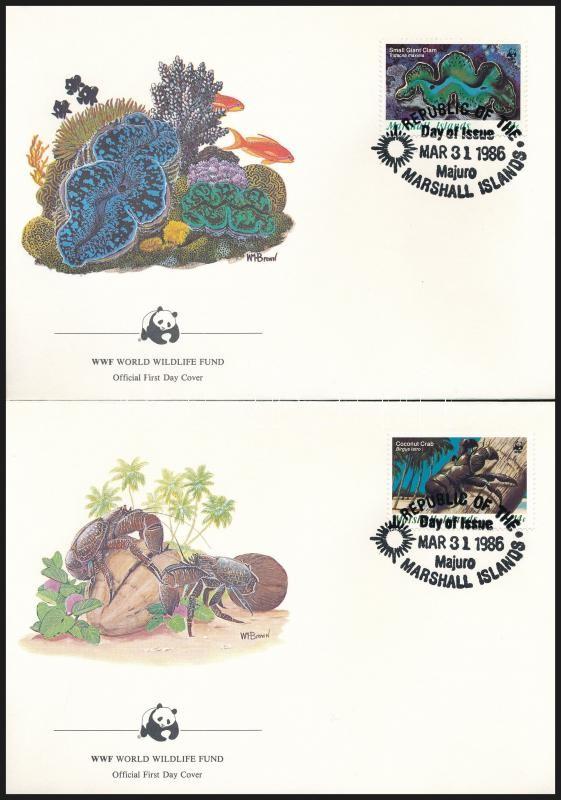 WWF: Sea snails and shells set on 4 FDCs, WWF: Tengeri csigák és kagylók sor 4 db FDC-n
