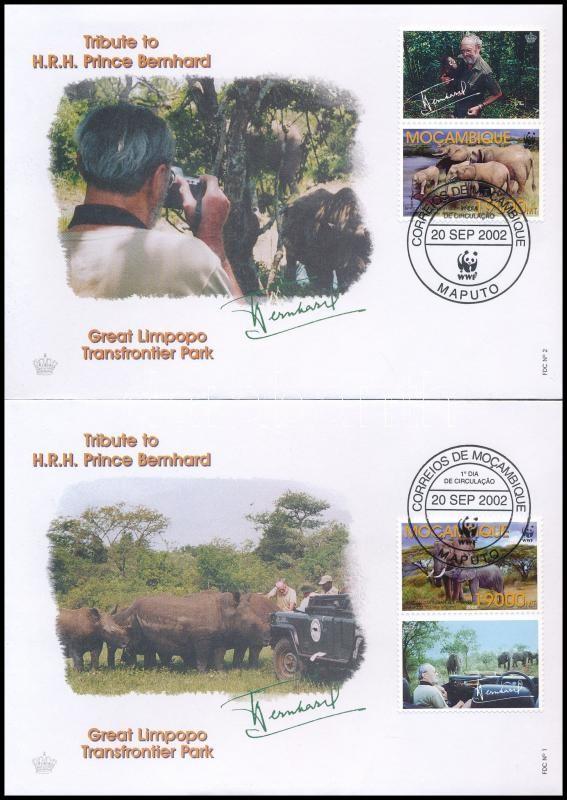 WWF African elephant set with coupon 4 FDC, WWF Afrikai elefánt szelvényes sor 4 FDC-n