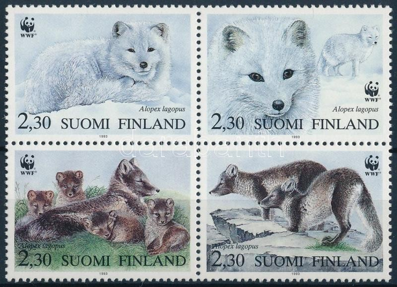 WWF: Arctic fox set in blocks of four + on 4 FDCs, WWF: Sarki róka sor négyestömbben + 4 db FDC- n
