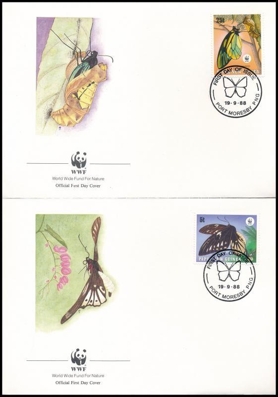 WWF: Butterfly set on 4 FDC, WWF: Pillangó sor 4 db FDC-n
