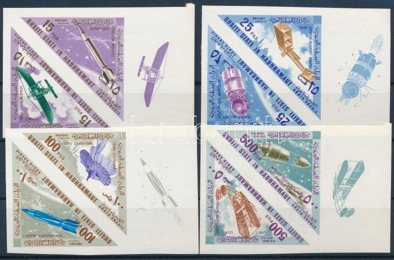 Aeroplanes and rockets imperforated margin set (4 pairs), Repülők és rakéták ívszéli vágott sor (4 pár)