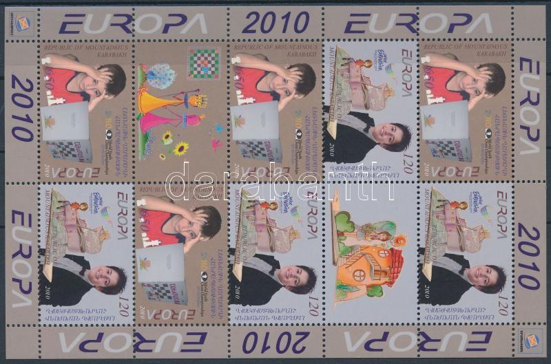 Europa CEPT Junior Eurovision Song Contest, Youth Chess Championship mini sheet with 8 stamps and 2 coupons, Europa CEPT: Ifjúsági Eurovíziós Dalfesztivál, Ifjúsági sakk VB 8 bélyeget és 2 szelvényt tartalmazó kísív