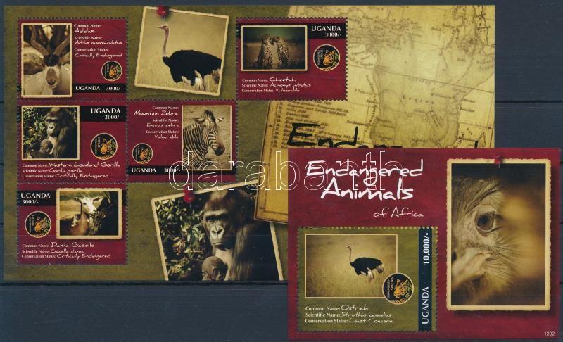 Endangered African animals mini sheet + block, Afrikai veszélyeztetett állatok kisív + blokk