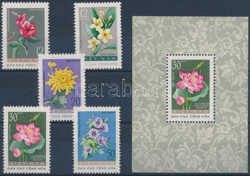 Flowers set + block, Virágok sor + blokk