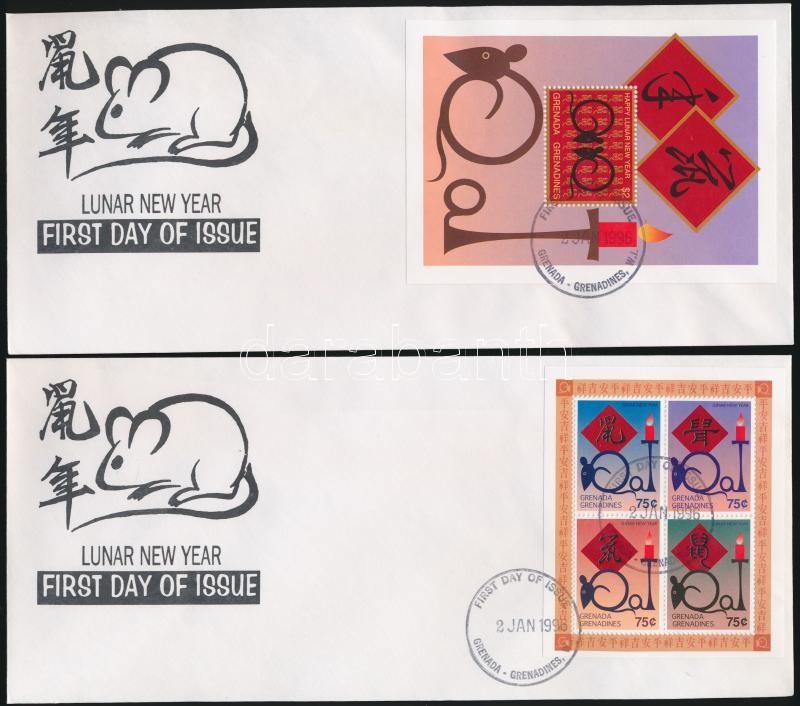Year of the Rat mini sheet + block 2 FDC, A Patkány Éve kisív + blokk 2 FDC-n