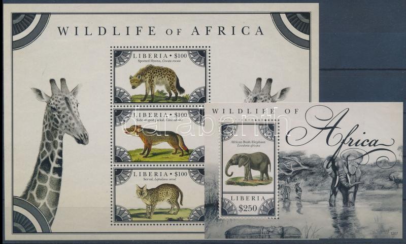 Wildlife of Africa  minisheet + block, Afrikai vadállatok kisív  + blokk