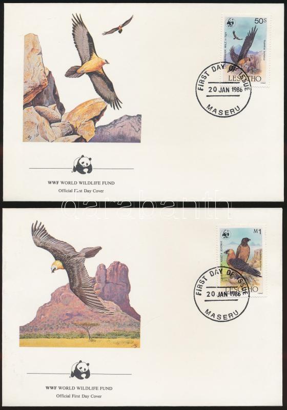 WWF: Bearded vulture set on 4 FDC, WWF: Szakállas saskeselyű sor 4 db FDC-n