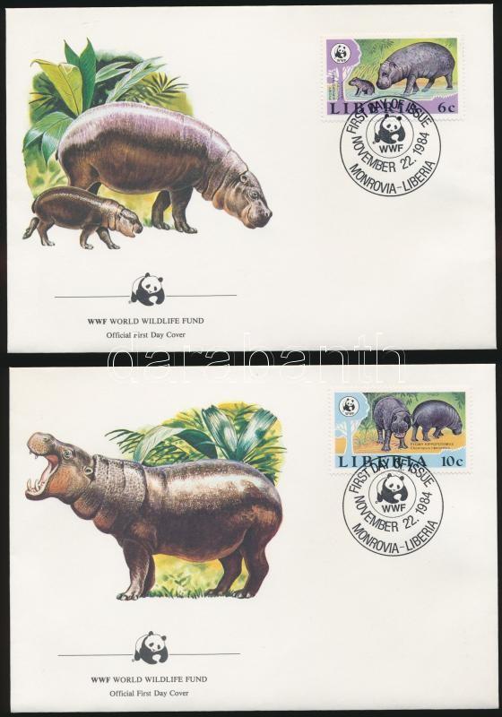 WWF: Pygmy hippopotamus set + 4 FDC, WWF: Törpe víziló sor  + 4 db FDC