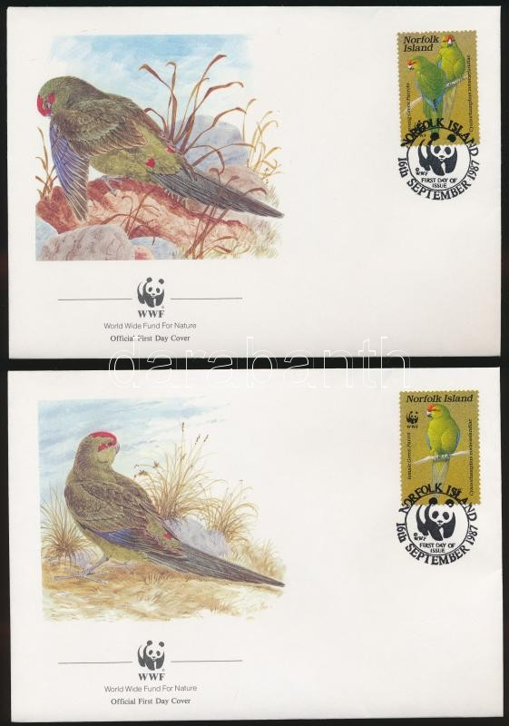 WWF: Parrot set on 4 FDC, ;WWF: Papagáj sor 4 db FDC-n