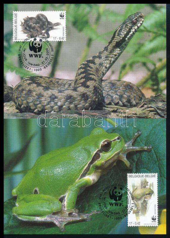 WWF Reptiles, amphibians set  on 4 CM, WWF: Hüllők és kétéltűek sor 4 db CM-n