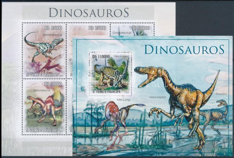 Dinosaurs minisheet + block, Dinoszauruszok kisív + blokk