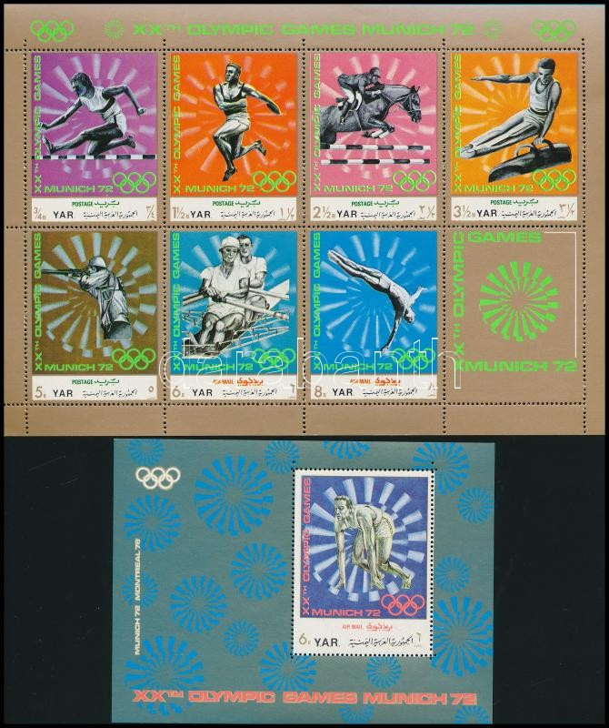 Munich Summer Olympics mini sheet + block, Müncheni nyári olimpia kisív + blokk