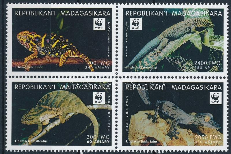 WWF: Reptiles set in block of 4, WWF: Hüllők sor négyestömbben