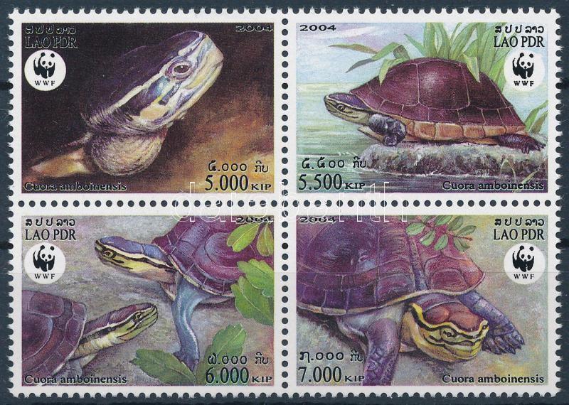 WWF: Turtles set in block of 4, WWF: Teknősök sor négyestömbben