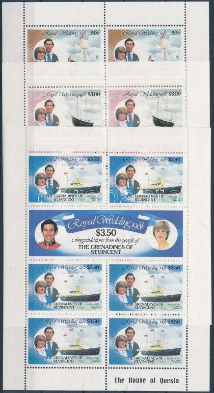 Prince Charles and Lady Diana Spencer's wedding mini sheet set, Károly herceg és Lady Diana Spencer esküvője kisívsor