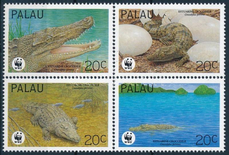 WWF: Saltwater crocodile block of 4 + 4 FDC, WWF: Sósvizi krokodil négyestömb + 4 FDC
