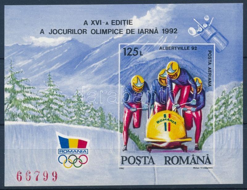 Winter Olympics imperforated block, Téli olimpia vágott blokk