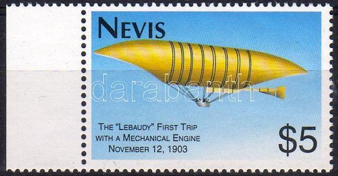 First Zeppelin margin stamp, Első léghajó ívszéli bélyeg, Erste Fahrt eines Luftschiffes mit mechanischem Antrieb Marke mit Rand