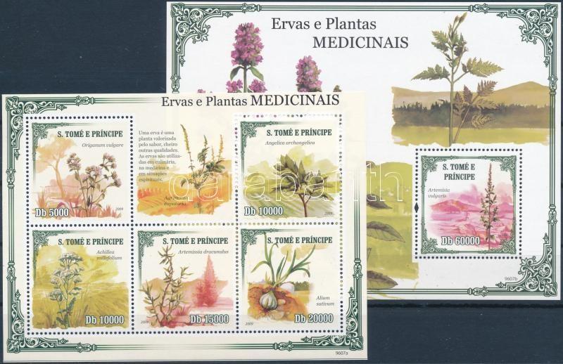 Plants mini sheet + block, Növények kisív + blokk
