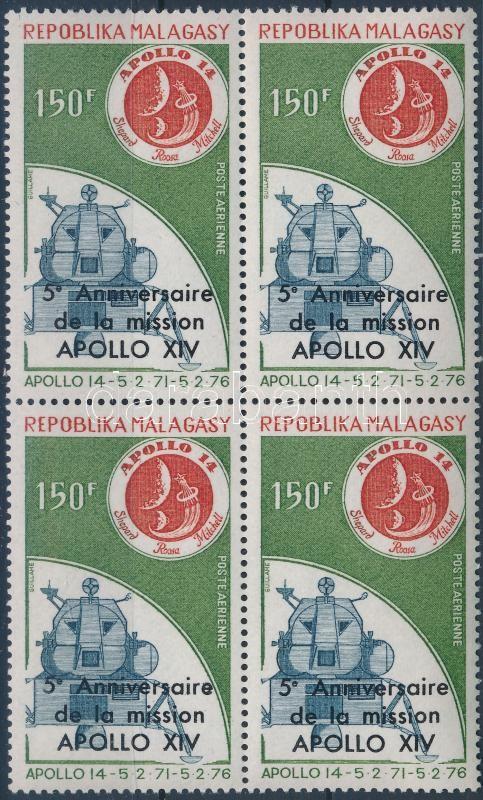 Apollo block of 4 with overprint, Apolló négyestömb felülnyomással