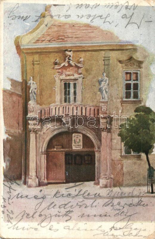 Székesfehérvár, Városház főbejárata s: Márton J. tanár